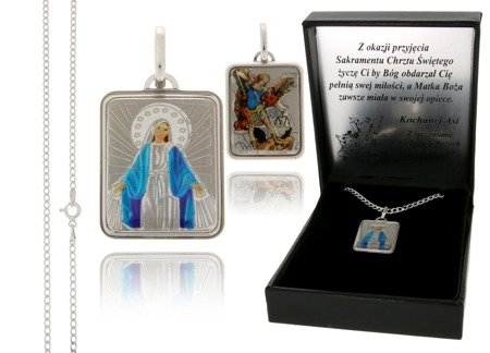 Medalik srebrny (2,1 g) - Michał Archanioł Cudowny Medalik Niepokalanka MK024