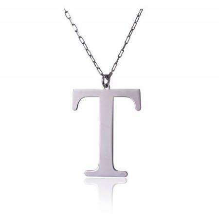 Naszyjnik celebrytka literka T 3,0 cm srebro rodowane pr 925 CELT3CM