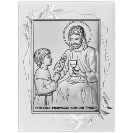 Obrazek Srebrny Pamiątka I Komunii dla chłopca prostokąt z podpisem DS45FOO