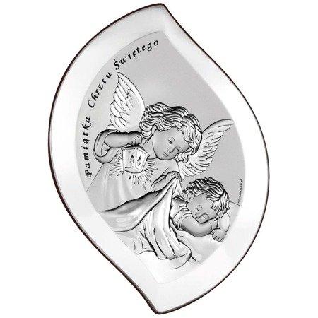 Obrazek srebrny Aniołek nad dzieciątkiem z latarenką Pamiątka Chrztu Świętego 6533S