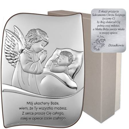Obrazek srebrny Aniołek nad dzieckiem z podpisem 6726