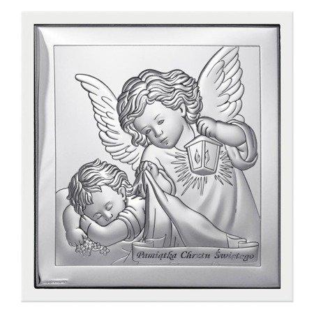 Obrazek srebrny Aniołek z latarenką z podpisem 6430W