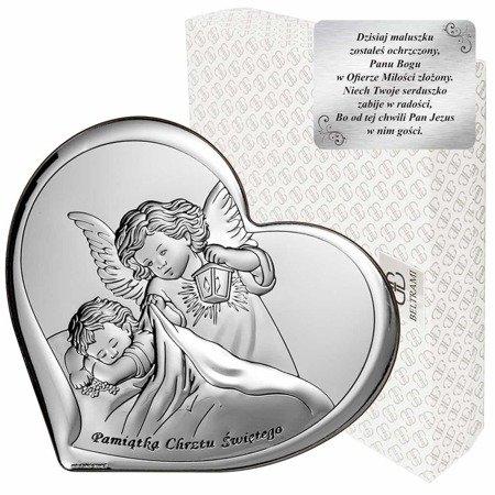 Obrazek srebrny Aniołek z latarenką z podpisem 6449