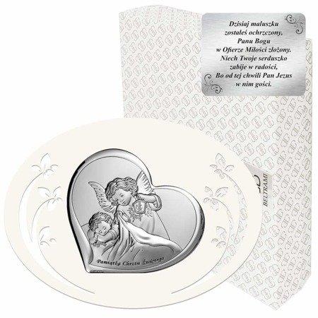 Obrazek srebrny Aniołek z latarenką z podpisem 6449P