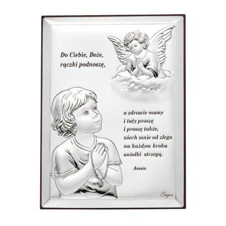Obrazek srebrny Aniołek z modlitwą 31300