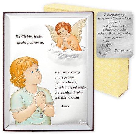 Obrazek srebrny Aniołek z modlitwą w kolorze 31300CER
