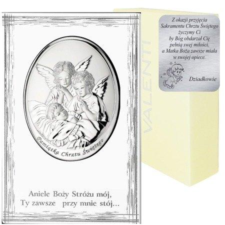 Obrazek srebrny Aniołki nad dzieckiem podpisem 825