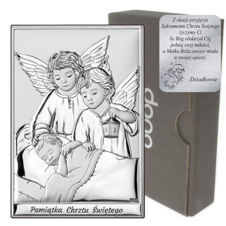 Obrazek srebrny Aniołki nad dzieckiem z latarenką DS09