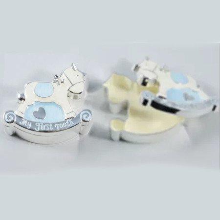 Puzderka na pierwszy ząbek oraz pukiel włosów, niebieskie, konik 473-3385