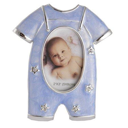 Ramka dziecięca z masy perłowej - niebieska, ubranko 473-3119
