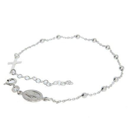 Różaniec srebrny - bransoletka na rękę, dziesiątek, 2,4-2,8 g, rodowane srebro pr. 925 BRS24