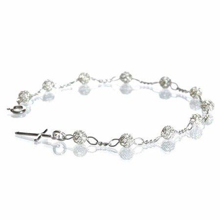 Różaniec srebrny - bransoletka na rękę, dziesiątek, ażurowy, 3,0-3,4 g, srebro pr. 925 BRP01