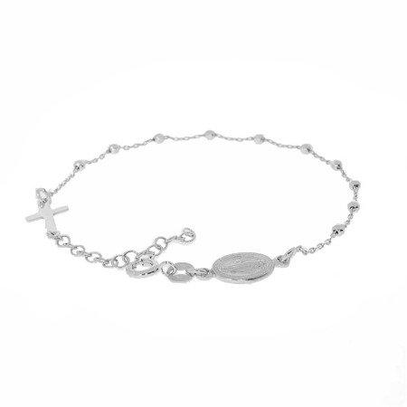 Różaniec srebrny - bransoletka na rękę, dziesiątek, diamentowany, 2,4-2,8 g, rodowane srebro pr. 925 BRS27