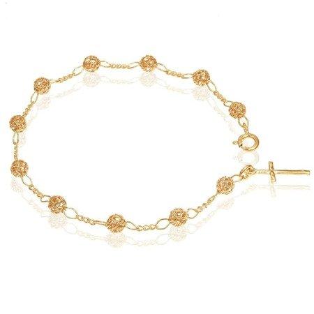 Różaniec srebrny - bransoletka na rękę, dziesiątka, ażurowy, 3,0-3,4 g, pozłacane srebro pr. 925 BRP08