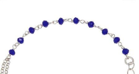 Różaniec srebrny - bransoletka na rękę, dziesiątka niebieski, 3,6-4,4 g, srebro pr. 925 BRS43