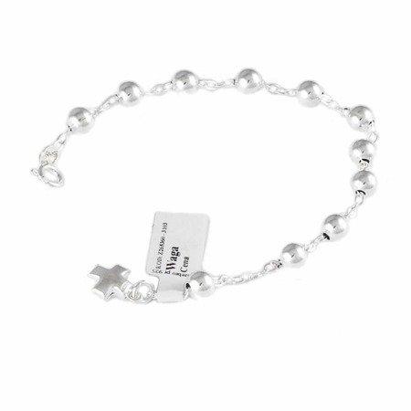 Różaniec srebrny - bransoletka różańcowa na rękę, dziesiątek, 5,2-5,6 g, srebro pr. 925 BRP13