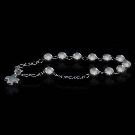 Różaniec srebrny - bransoletka różańcowa na rękę, dziesiątek, 5,5-5,9 g, srebro pr. 925 BRP07