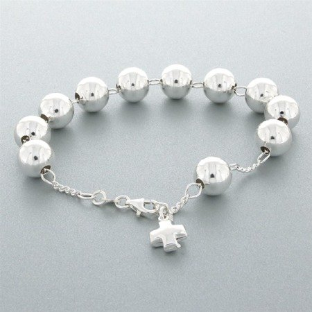 Różaniec srebrny - bransoletka różańcowa na rękę, dziesiątek, 8,7-9,1 g, srebro pr. 925 BRP04