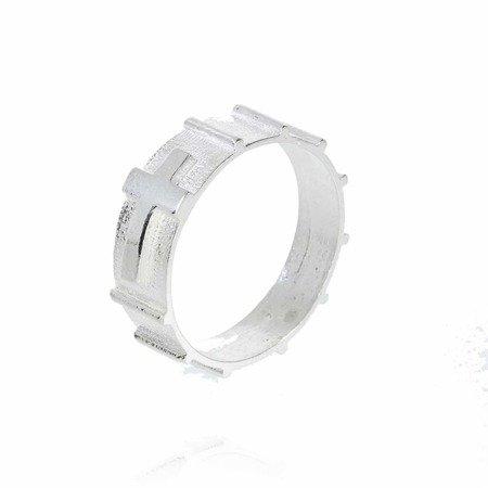 Różaniec srebrny obrączka na palec zwężany, rozmiary 30-35  Srebro pr. 925 RPM04