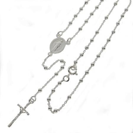 Różaniec srebrny rodowany - 5 dziesiątek 6,4 g z zapinką, 2,6 mm srebro pr. 925 RC036