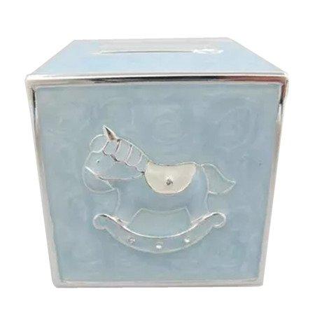 Skarbonka dziecięca z masy perłowej - niebieska kostka, konik 473-3262