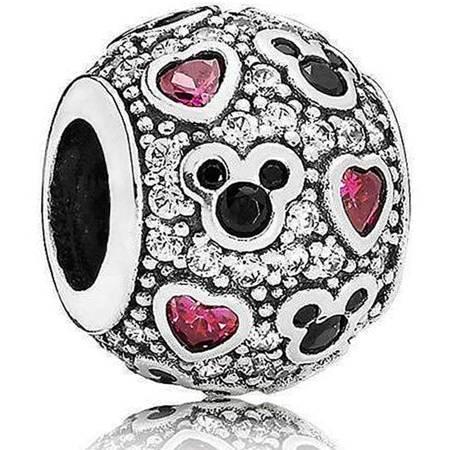 Srebrna przywieszka pr 925 Charms Mickey różowe cyrkonie PAN174