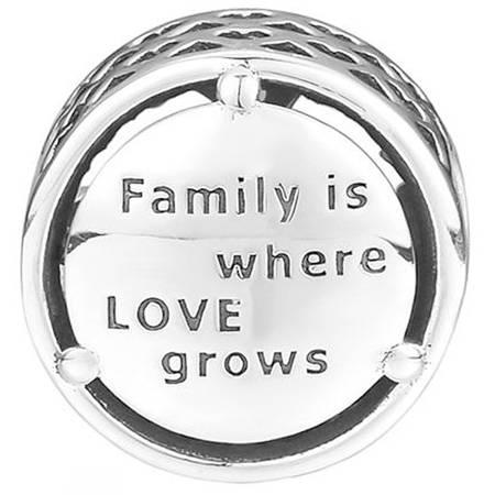Srebrna przywieszka pr 925 Charms drzewo życia Family is where LOVE grows PAN023