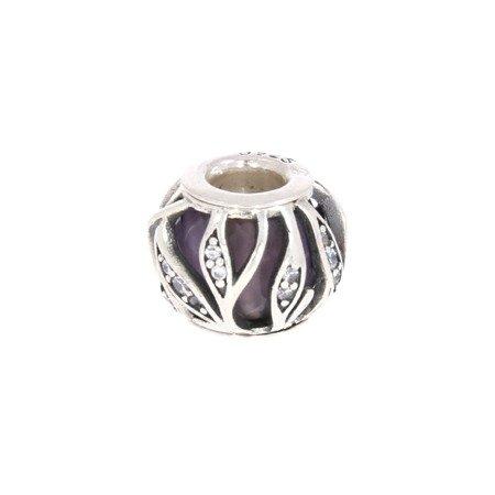 Srebrna przywieszka pr 925 Charms kulka liście  fiolet cyrkonie PAN068