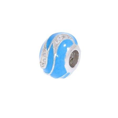 Srebrna przywieszka pr 925 Charms niebieski cyrkonie PAN049
