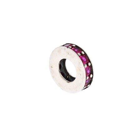 Srebrna przywieszka pr 925 Charms obrączka rózowe cyrkonie PAN024