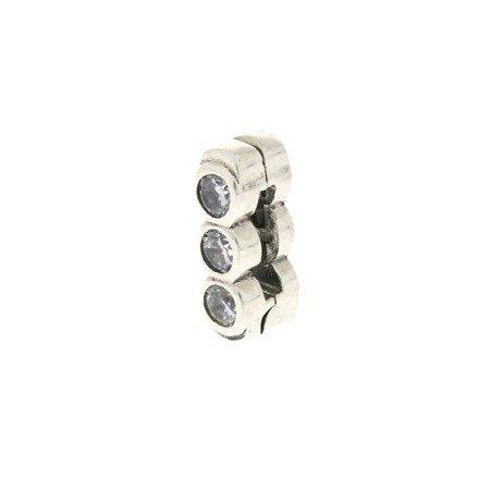 Srebrna przywieszka pr 925 Charms płaski 3 cyrkonie PANP014