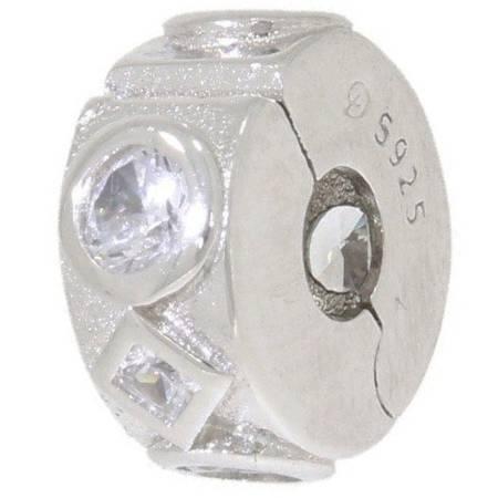 Srebrna przywieszka pr 925 Charms ring białe cyrkonie PAN141