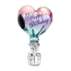 Srebrna przywieszka pr 925 Charms serce złote w cyrkonie  PAN130