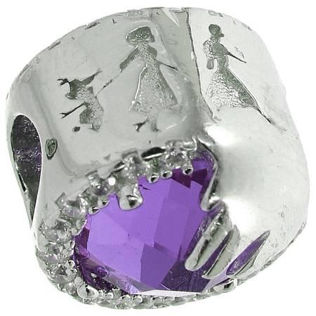 Srebrna przywieszka pr 925 Charms serduszko w cyrkonie fiolet  PAN123