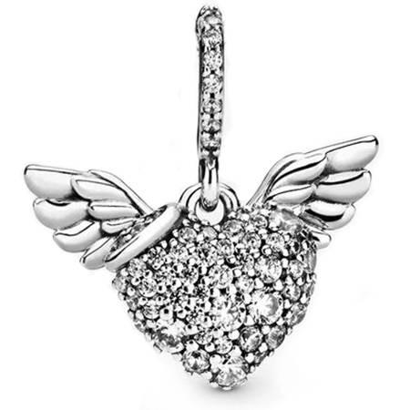 Srebrna przywieszka pr 925 Charms wiszący skrzydlate serce cyrkonie PAN214