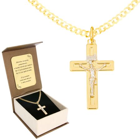 Zestaw Złoty krzyż z łańcuszkiem pancerka w opakowaniu ozdobnym z grawerem pr. 585 ZK035/ZL020/P3/BA-6