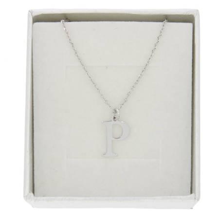 Zestaw naszyjnik celebrytka literka P 1,0 cm srebro rodowane pr 925 z pudełkiem CELP1CM/P40/1