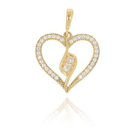 Złota przywieszka pr. 585 Serce ażurowe z pętelką cyrkonie ZP017