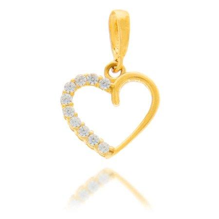 Złota przywieszka pr. 585  Serce z cyrkoniami połowa  ZP003