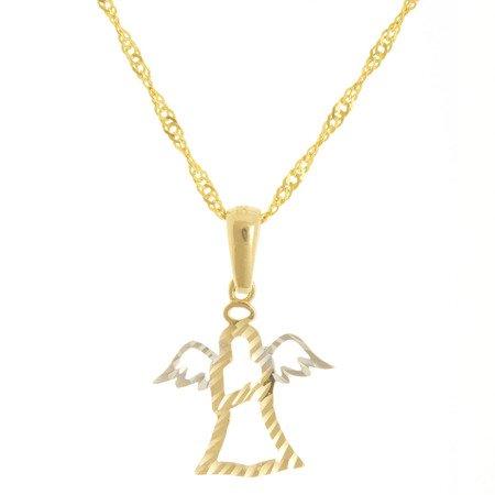 Złota przywieszka pr. 585 aniołek diamentowany ZP060