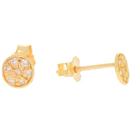 Złote kolczyki pr. 585 Koło płaskie cyrkonie sztyft ZA032