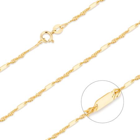Złoty Łańcuszek pr. 585 Singapur z blaszką 024 szer 1,5mm ZL014