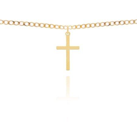 Złoty krzyżyk pr. 585 Krzyżyk płaski gładki duży ZK019