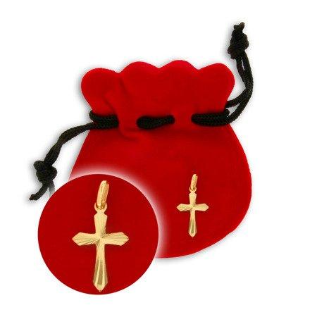 Złoty krzyżyk pr. 585 Krzyżyk płaski promienie ZK032