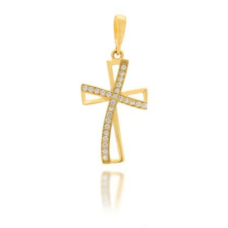 Złoty krzyżyk pr. 585 Krzyżyk zaokrąglony cyrkonie ZK013