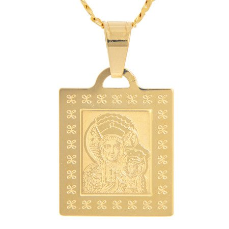 Złoty medalik pr. 585 M.B. Częstochowska kwadrat ramka ZM039