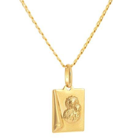 Złoty medalik pr. 585 M.B. Częstochowska prostokąt ZM048