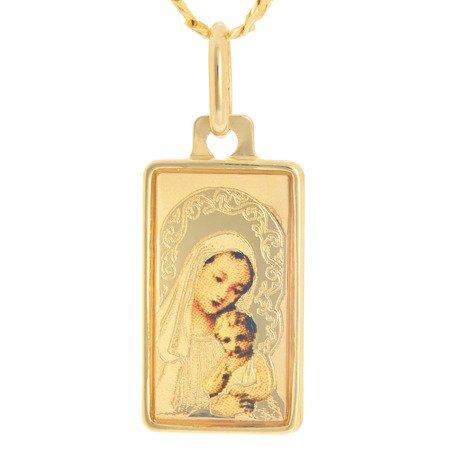 Złoty medalik pr. 585 Matka Boska z dzieciątkiem prostokąt kolor  ZM079