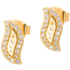 Złote kolczyki pr. 585 Fala cyrkonie sztyft ZA060