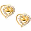 Złote kolczyki pr. 585 Seduszko podwójne cyrkonie sztyft ZA051